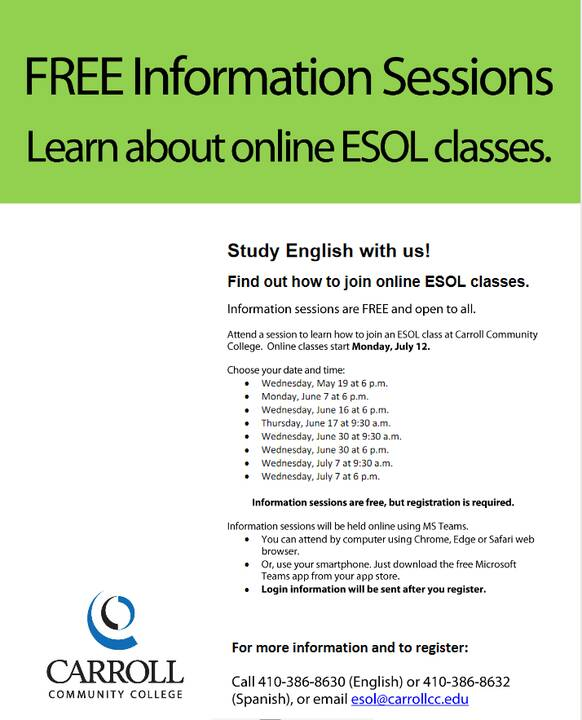 Photos from Carroll Community College English (ESOL) Classes's post