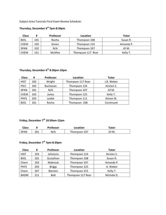 Exam Review Schedule Fall 2012